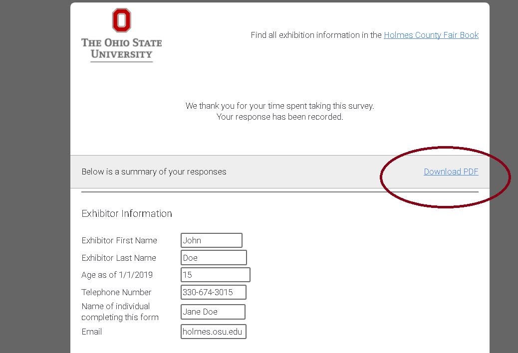 Pen Form confirmation