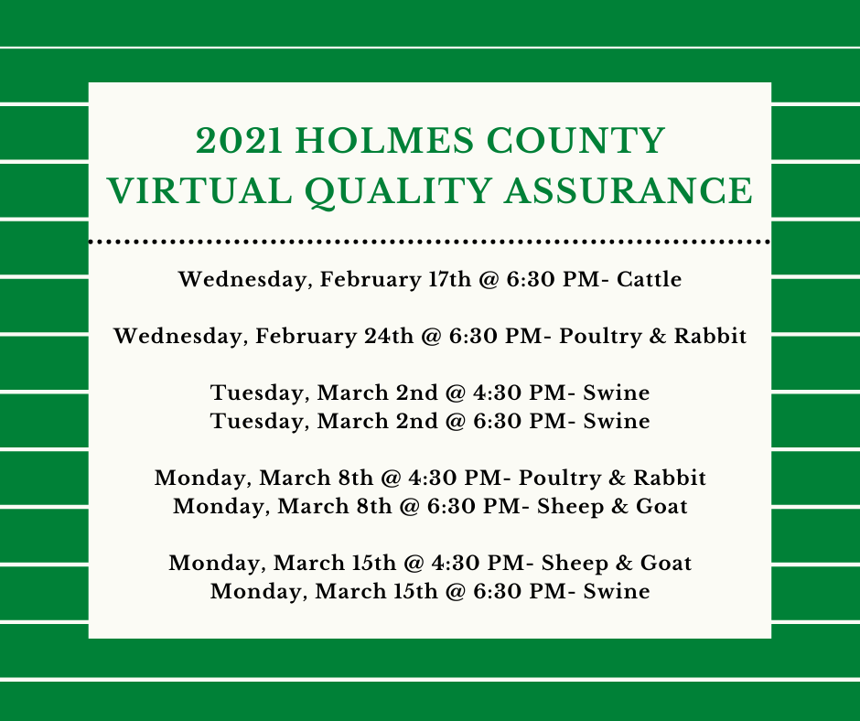 2021 Holmes County Quality Assurance Dates