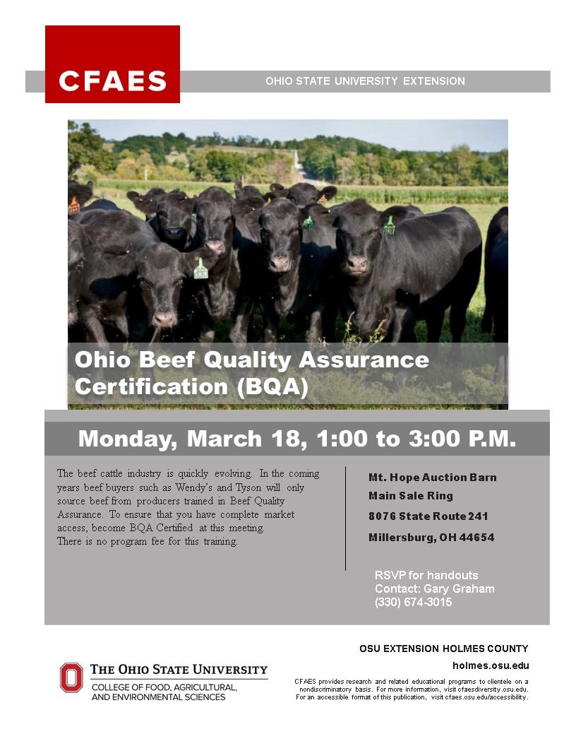 Beef Quality Assurance (BQA) Training 2019 OSUE Holmes