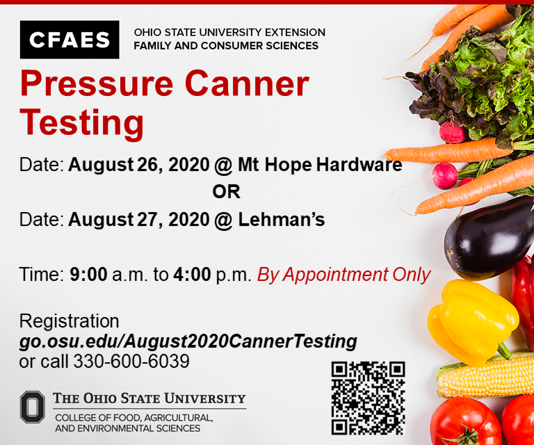 August 2020 Pressure Canner test dates