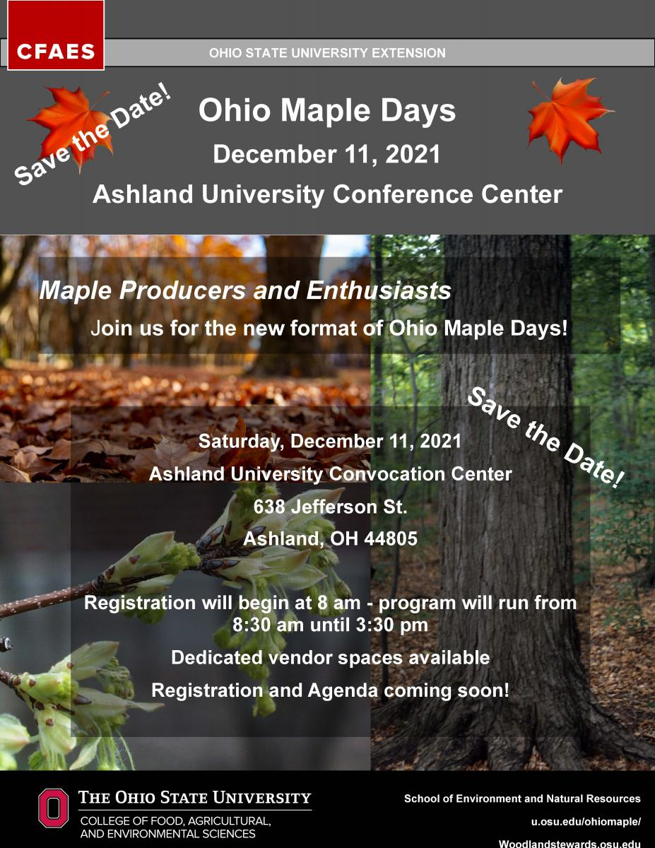 Ohio Maple Days December 2021 Save the Date